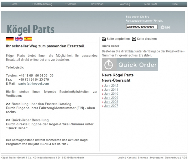 Электронный каталог запчастей Kogel